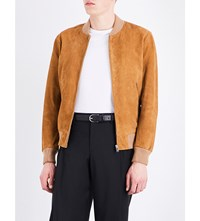 Sandro Stand Collar Suede Bomber Jacket Beige
