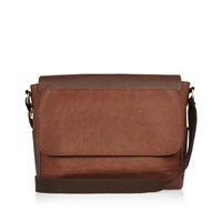 River Island Mens Brown Flapover Shoulder Bag