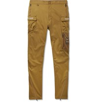 Nike Undercover Tapered Logo Print Cotton Blend Trousers Brown