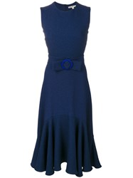 Edeline Lee Belted Fit And Flare Dress Polyester Spandex Elastane Cupro Blue
