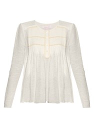 See By Chloe Pleated Round Neck Blouse White
