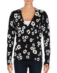 Lord And Taylor Petite Floral Button Front Cardigan Black