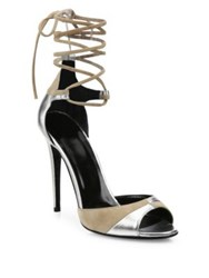 Pierre Hardy Parade Metallic Leather And Suede Ankle Wrap Sandals Nude Silver
