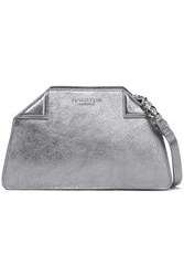 Halston Metallic Textured Leather Shoulder Bag Silver