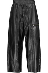 Maison Martin Margiela Mm6 Cropped Faux Leather Wide Leg Pants Black