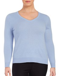 Lord And Taylor Plus Cashmere V Neck Sweater Blue Orbit