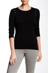 Autumn Cashmere Mesh Back Sweater Black