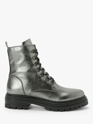 And Or Rudi Leather Lace Up Hiking Boots Silver