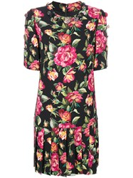 Dolce And Gabbana Floral Bouquet Printed Dress Silk Spandex Elastane Viscose Black