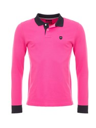 Eden Park Cotton Polo Shirt With Contrast Trims Pink