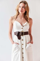 Urban Outfitters Wide Woven Belt Brown