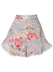 Zimmermann Floral Print Shorts Women Cotton Linen Flax 2 Blue