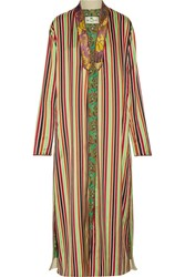 Etro Jacquard Trimmed Striped Cotton And Silk Blend Jacket Green