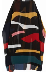 Issa Suzanne Printed Silk Blend Poncho Black