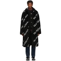 Balenciaga Black Faux Fur Big Fit Car Coat