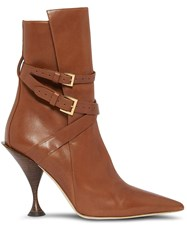Burberry Point Toe Ankle Boots Brown