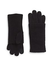 Saks Fifth Avenue Rib Knit Tech Gloves Incense White