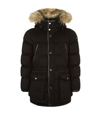 Burberry Fur Trimmed Cashmere Parka Coat Male Black