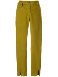 Ann Demeulemeester Cropped Skinny Fit Trousers Green