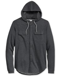 Univibe Men's Button Front Hoodie Black Heather