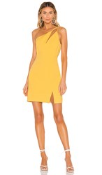 Bcbgmaxazria One Shoulder Cut Out Dress In Yellow. Golden Cream