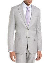 Brioni Houndstooth Wool Silk Two Piece Suit Gray