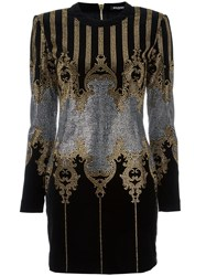 Balmain Studded Baroque Mini Dress Black
