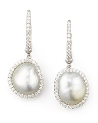 White South Sea Pearl And Diamond Framed Drop Earrings White Gold Eli Jewels Blue