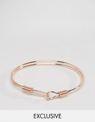 Designb London Hook Metal Bracelet In Rose Gold Rose Gold