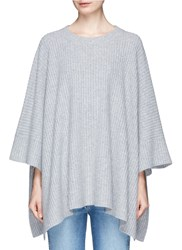 Chloe Ribbed Cashmere Cape Grey