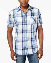 Weatherproof Men's Cotton Plaid Short Sleeve Shirt Light Beige