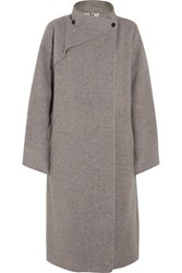 Topshop Unique Brushed Wool Coat Gray