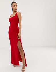 Club L Square Neck Detail Slinky Maxi Dress Red