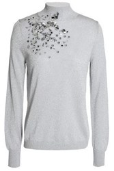 Delpozo Sequin Embellished Metallic Stretch Knit Turtleneck Sweater Silver
