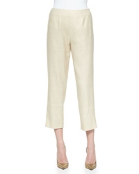 Neiman Marcus Tussah Silk Blend Cropped Pants