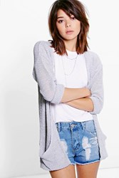 Boohoo Amber Loose Knit Slouchy Pocket Cardigan Silver