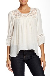 Jolt Crochet Detail Boho Blouse White