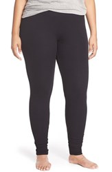Plus Size Women's Nordstrom Lingerie Ribbed Leggings Black
