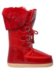Dsquared Nylon And Patent Leather Fur Snow Boots