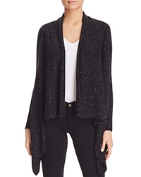 Bloomingdale's C By Basic Open Cashmere Cardigan Black Donegal