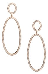 Nordstrom Pave Circle And Oval Drop Earrings Clear Rose Gold