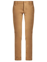Tomas Maier Mid Rise Slim Leg Stretch Cotton Trousers Camel
