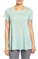 Women's Eileen Fisher Jewel Neck Organic Linen Cap Sleeve Top Flower