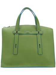 Furla Contrast Detail Structured Tote Green