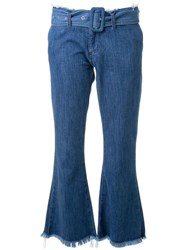 Marques Almeida Cropped Flared Jeans Blue