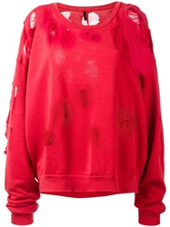 Unravel Project Distressed Sweatshirt Red