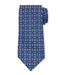 Charvet Interlocking Printed Silk Tie Blue