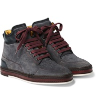 Berluti Ferro Suede And Leather High Top Sneakers