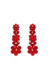 Simone Rocha Floral Drop Crystal Embellished Earrings Red