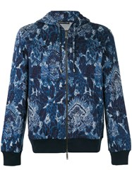 Etro Floral Print Zipped Hoodie Blue